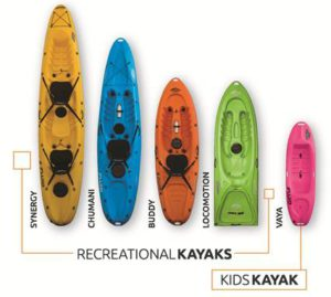 recreational kids kayaking kayaks