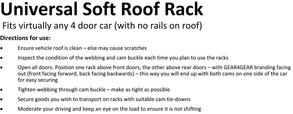 universal soft roof rack points