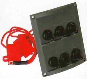b5 027 6 waterproof toggle switch panel 300x271 - Switch Panel AAA 6 switch BLK/WHT