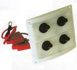 b5 028 4 marine toggle switch panel 300x270 - Switch Panel AAA 4 switch 8x9 in WHT