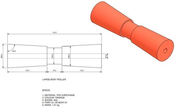 boat trailer roller 01 - Roller 1 - 80x320