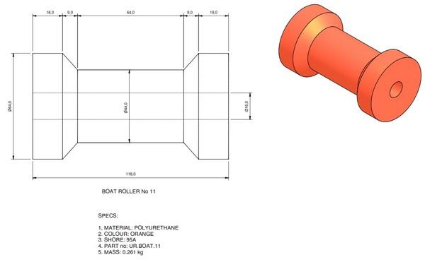 boat trailer roller 11 - Roller 11 - 64x118