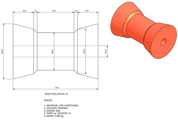 boat trailer roller 12 - Roller 12 - 78x120